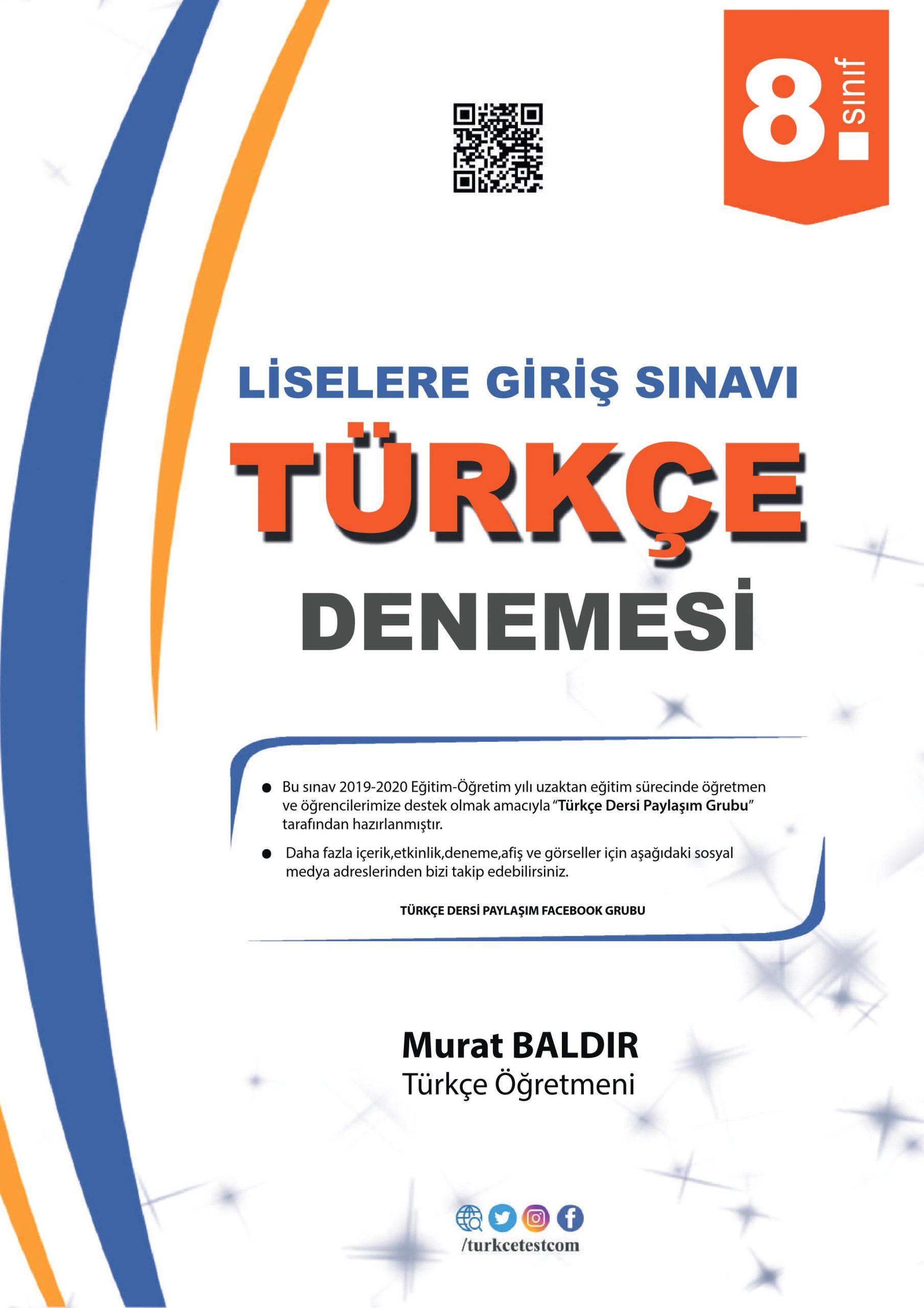 Uzaktan Eğitim Türkçe Denemesi 1