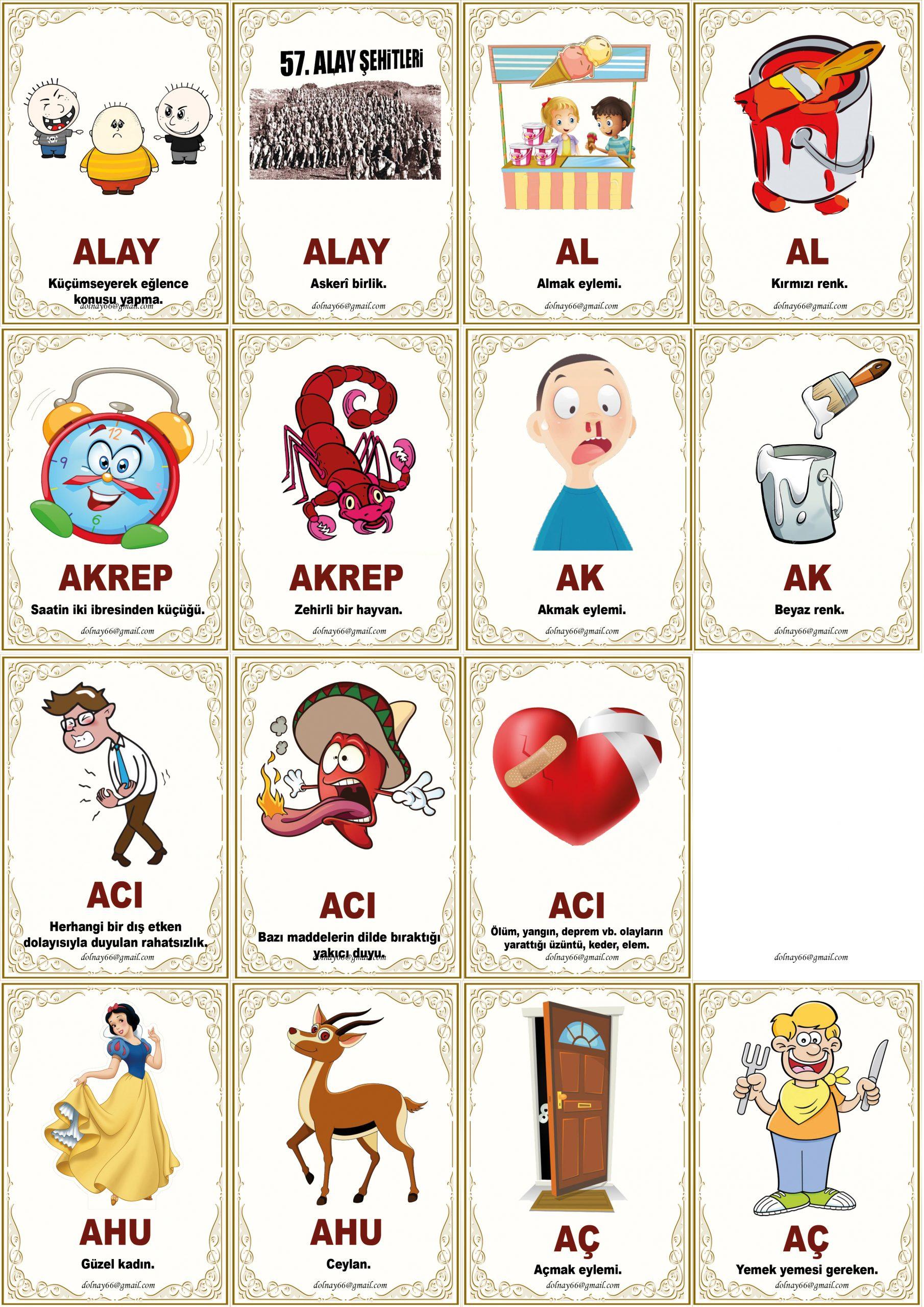 Eş Sesli Kelime Oyun Kartları 160 Adet
