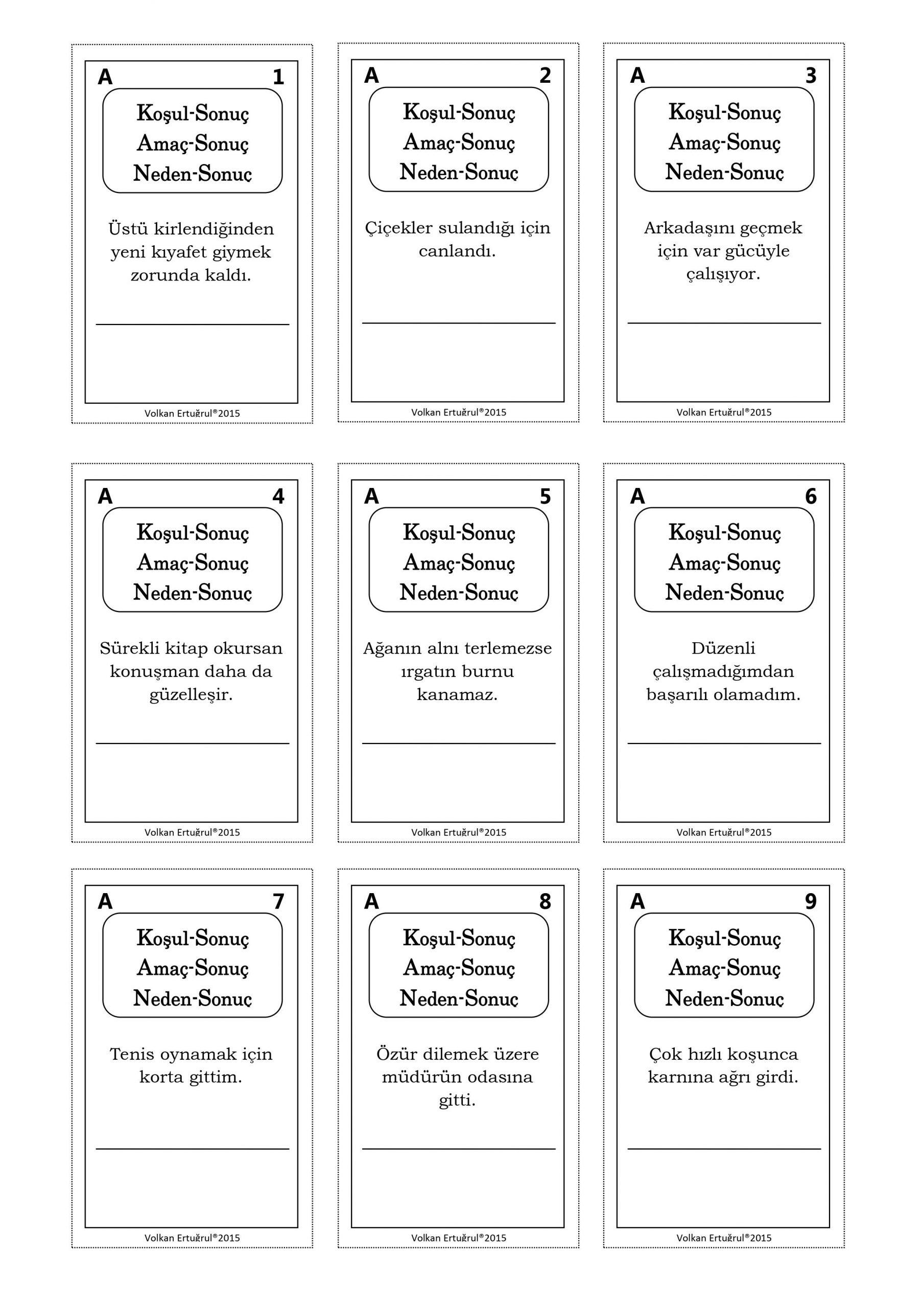 Türkçe Dersi Oyun Kartları